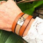 Bracelet-manchette-cuir-brun-beige-medaille-m-Aramance