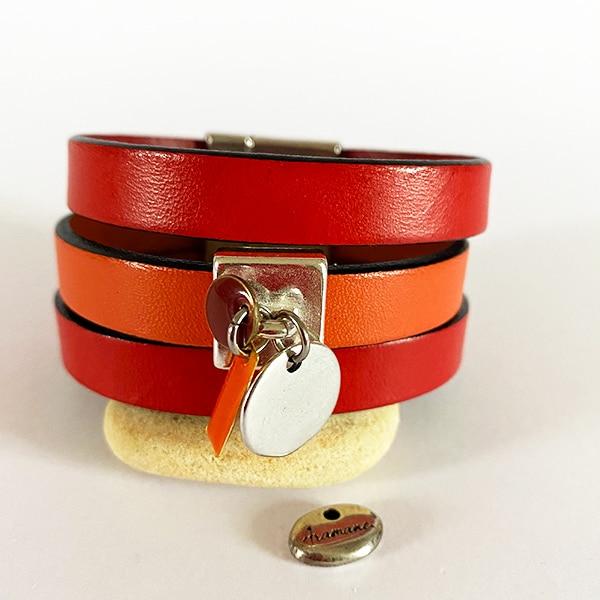 Bracelet-manchette-cuir-rouge-orange-medaille-p-Aramance