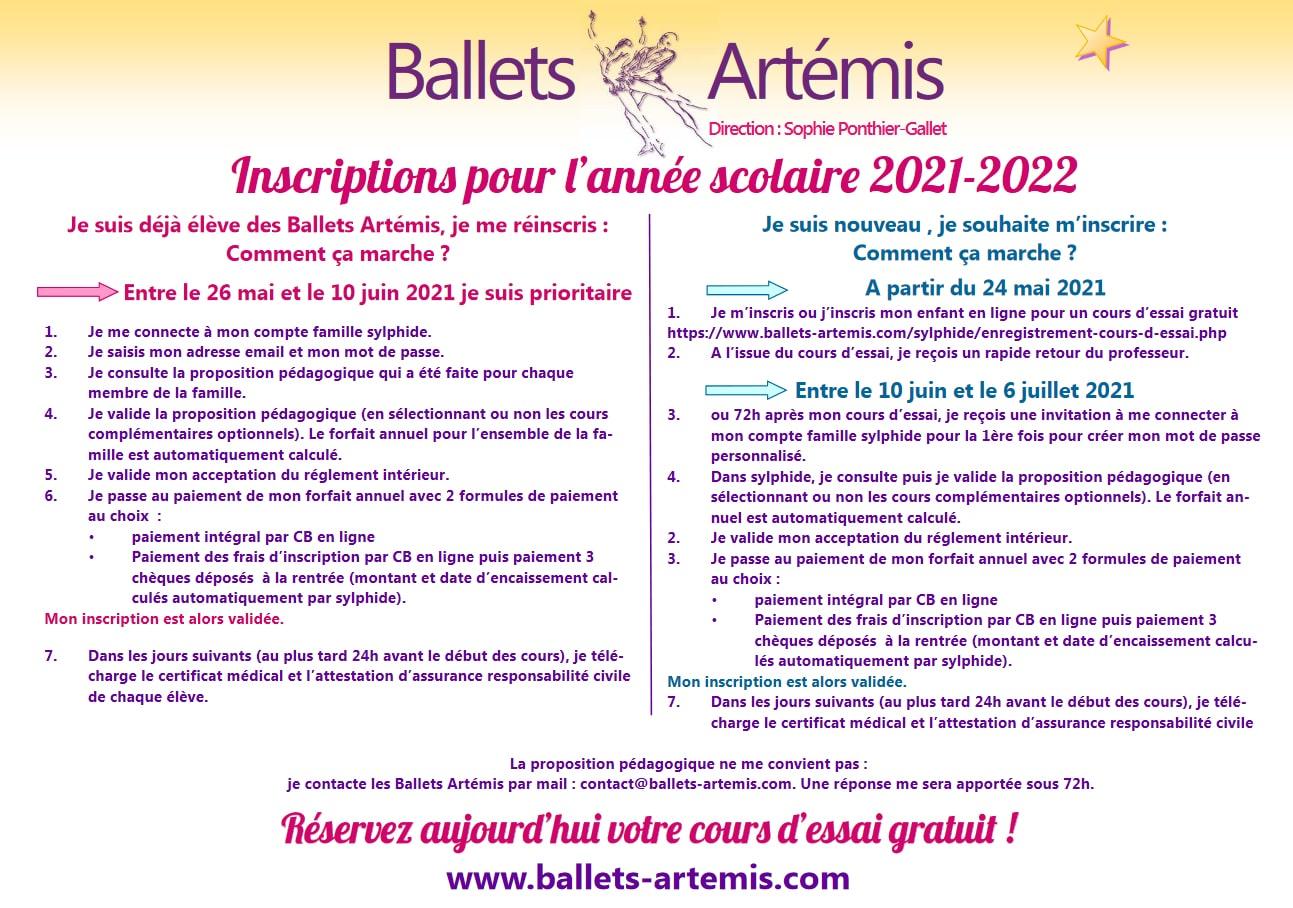 Ballet Artemis Inscriptions 2021 - 2022 Paris ouest